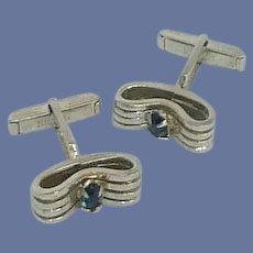 Swank Blue Rhinestone Silver Tone Cufflinks Cuff Links