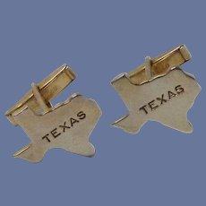 Texas Shaped Gold Tone Cufflinks Cuff Links