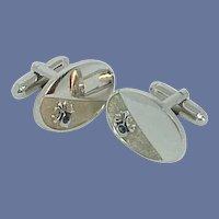 Oval Silver Tone Blue Rhinestone Cufflinks Cuff Links