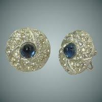 Blue Glass Rhinestone Silver Tone Screw Back Earrings