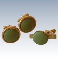 Apple Green Cloth Cufflinks Cuff Links & Tie Clasp