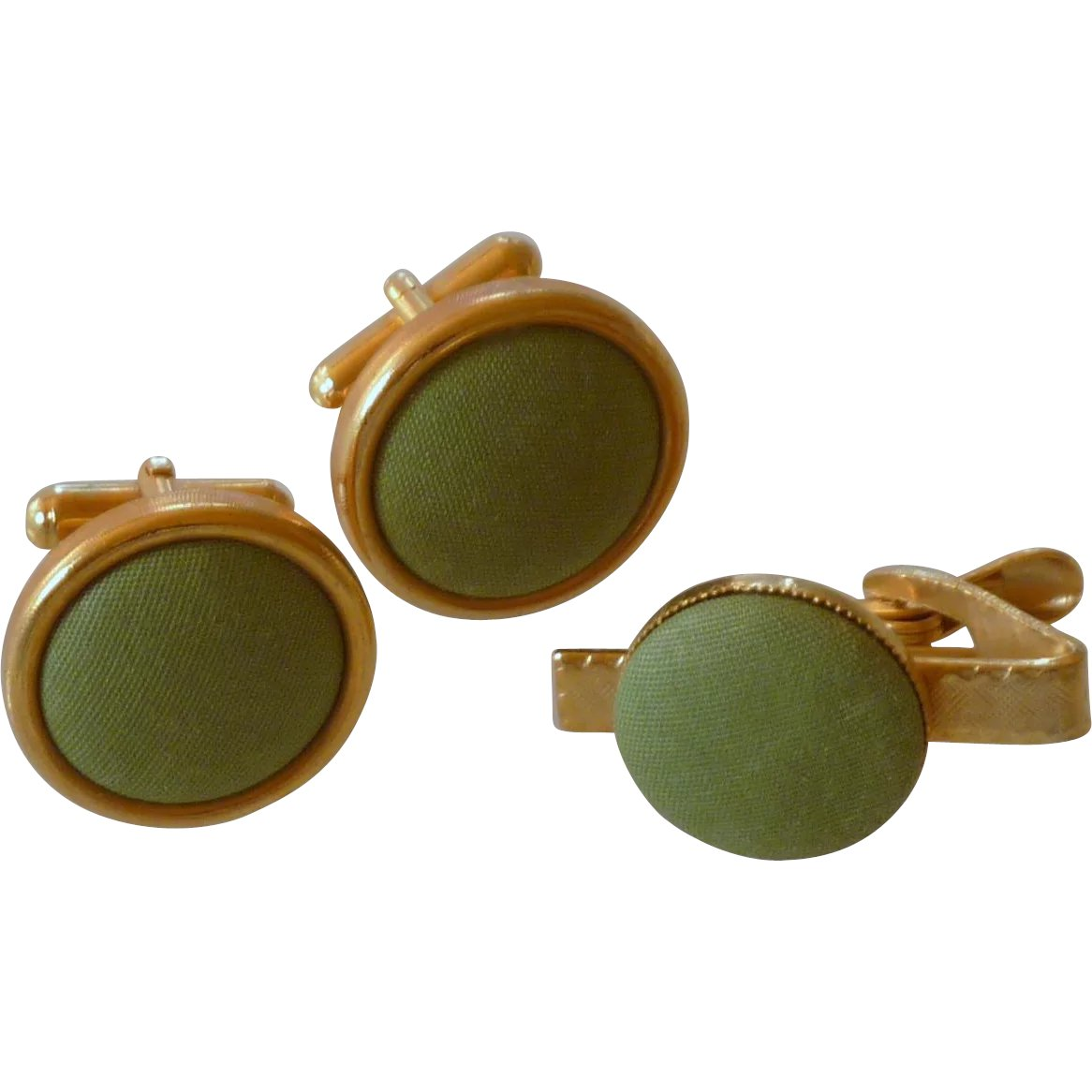 2dbd535e93da Apple Green Cloth Cufflinks Cuff Links & Tie Clasp : Dobie's Delights |  Ruby Lane