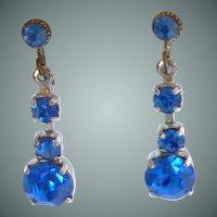 Lovely Small Drop Blue Rhinestone Screw On Earrings