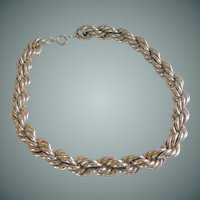 Heavy Silver Tone Twisted Rope Chain 19""