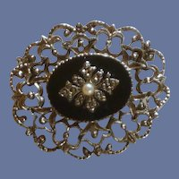 Marcasite with Faux Pearl Pin / Brooch 1990