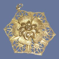 Gold Tone Filigree Pendant with Flower