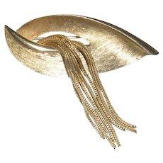 Kramer New York Leaf Gold Tone Pin Brooch with Tassel