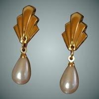 Napier Faux Pearl Dangle Drop Clip on Earrings