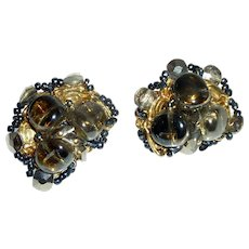 Cluster Black Brown Beads Gold Tone Clip on Earrings