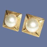 Napier Clip on Screw Faux Pearl Gold Tone Earrings