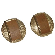 Brown Faux Wood Gold Tone Clip on Earrings