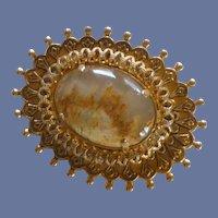 Scenic Cabochon Rock in Gold Tone Setting Pin