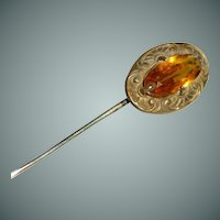 Beveled Gold Amber Rhinestone Stick Pin Cravat