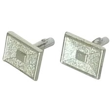 Silver Toned Rectangular Bushed Finish Cufflink  Cuff Links