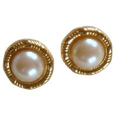 Faux Pearl with Gold Fitting Pierced Earrings