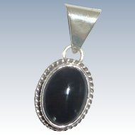 Silver Tone Pendant with Black Faux Stone