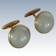 Round Faux Moonstone Grey Blue Cufflinks Cuff Links