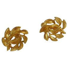 Gold Tone Leaf Cluster Clip On Napier Earrings