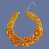 Bright Orange / Yellow Multi Strand Seed Bead Necklace