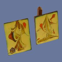 Abstract Design Yellow Enamel Copper Cufflinks Cuff Links