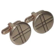 Hickok Round Gold Tone Patch Work Cufflink Cuff Links