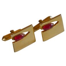 Swank Gold Tone with Red Glass Stone Cufflink  Cuff Links