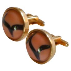 Hickok Gold Tone Round Pink and Black Cufflink Cuff Links