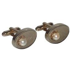 Dante Oval Gold Tone Faux Pearl Cufflinks Cuff Link