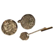 Anson Brushed Round Gold Tone Cufflinks Cuff Links and Tie Pin