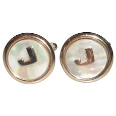 Mother of Pearl Initial Letter J Gold Tone Cufflinks Cuff Links