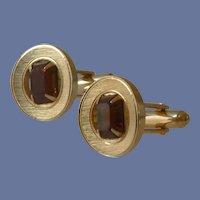Gold Tone Topaz Yellow Glass Cuff link Cufflinks