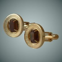 Gold Tone Topaz Yellow Glass Cuff link Cufflinks