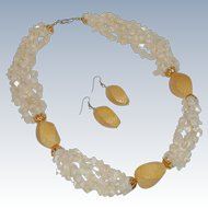 Chunky White Sea Shells and Yellow Leather Snake Necklace & Earrings