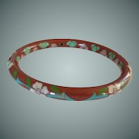 Red Floral Enamel Cloisonné Bangle Bracelet