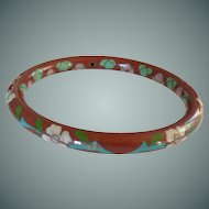 Red Floral Enamel Cloisonné Bangle Bracelet
