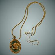 Trifari Tag Gold Tone Necklace and Green Asian Pendant