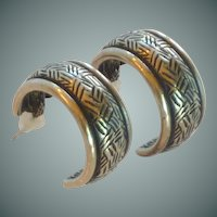 NewPro Pewter Pierced Half Hoop Earrings