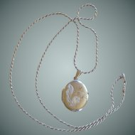 Sterling Silver Oval Locket Pendant and Necklace