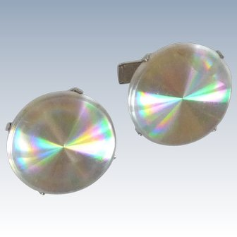 Hologram Rainbow Optical Cufflinks
