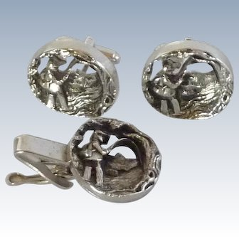Fly Fishing Silver Tone Cut Out Cufflinks Cuff Links and Tie Bar