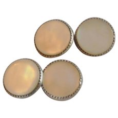 Small Round Flat Mother of Pearl Cufflinks Cuff Links
