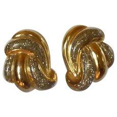 Glitter Gold Tone Swirl Clip On Earrings