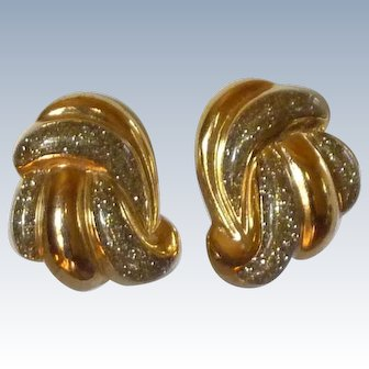 Glitter Gold Tone Swirl Clip On Earrings