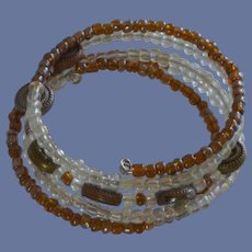 Brown and White Wrap Around Memory Wire  Bracelet