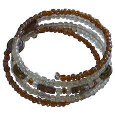 Brown and White Wrap Around Memory Wire  Bracelet