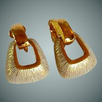 Citation Hoop Loop Gold Tone Textured Earrings