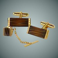 Brown Quartz Stone Rectangle Gold Tone Cufflinks Cuff Links  & Tie Tack