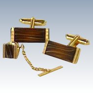 Brown Quartz Stone Rectangle Gold Tone Cufflinks Cuff Links  & Tie Tack