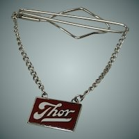 """Thor"" Silver Tone Tie Bar with Chain"