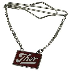 """""""Thor"""" Silver Tone Tie Bar with Chain"""